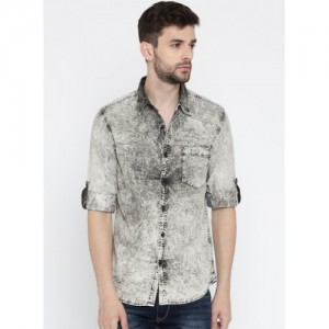 HERE&NOW Black Washed Casual Shirt