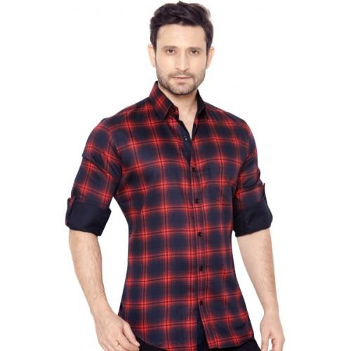 GlobalRang Men's Checkered Casual Red, Dark Blue Shirt