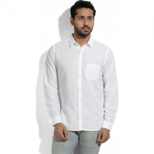 United Colors of Benetton White Men's Solid Casual Shirt