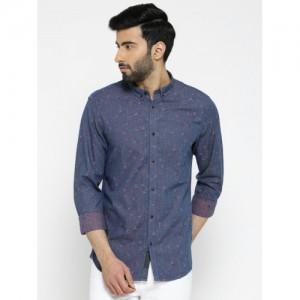 Blackberrys Men Blue Slim Fit Self-Design Casual Shirt