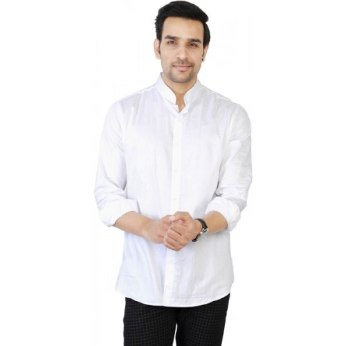 Jai Textiles White Cotton Solid Casual Shirt