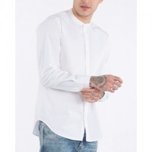 Jai Textiles White Cotton Solid Party Shirt
