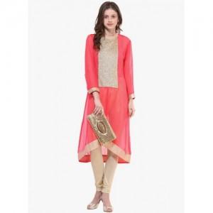 La firangi pink full length full sleeves stand collar kurta