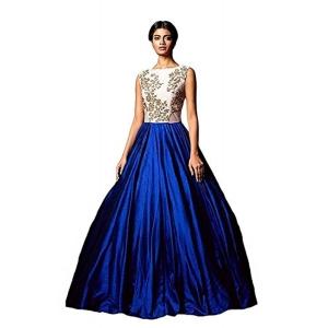 Ethnic Basket Blue & Beige Silk Gown