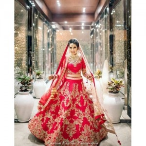 ShreeBalaji Creation Red Embroidered Lehenga Choli