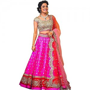 Salwar Style Women's Georgette Heavy Bridal Wedding Lehenga Choli (LT O-PINK)