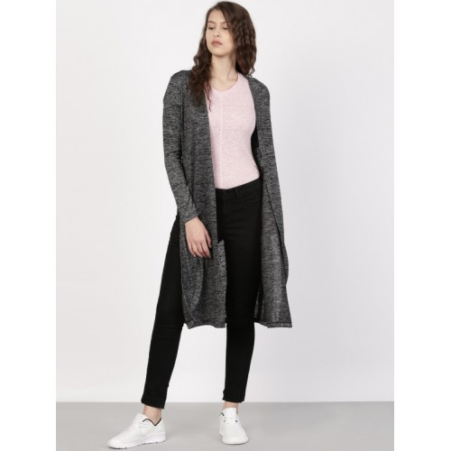Ether Charcoal Grey Polyester Longline Shrug