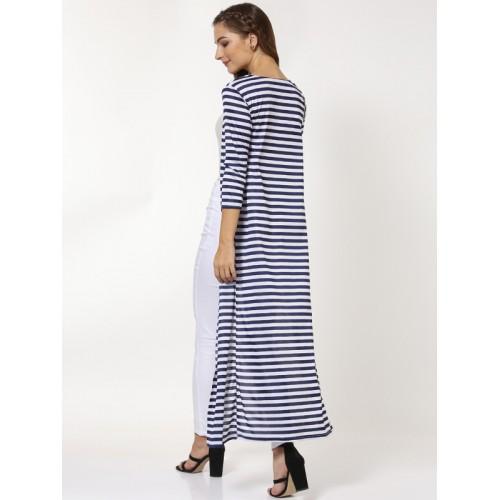 SASSAFRAS Navy Blue & White Striped Open Front Longline Shrug