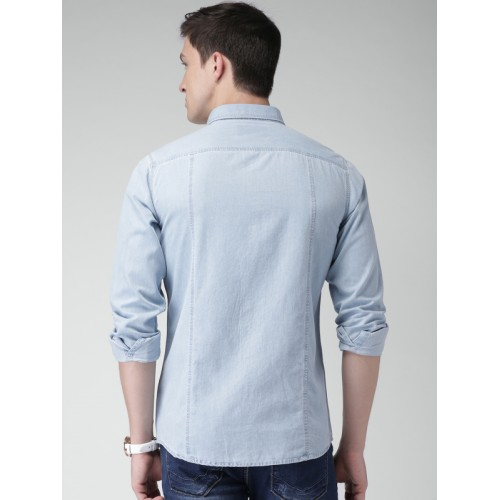 Mast & Harbour Men Blue Slim Fit Faded Denim Casual Shirt