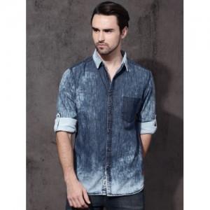 Roadster Men Blue Slim Fit Faded Denim Shirt
