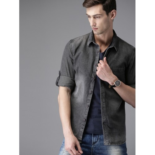 802a3ebcf2c Buy HERE NOW Men Black Regular Fit Faded Casual Denim Shirt online ...