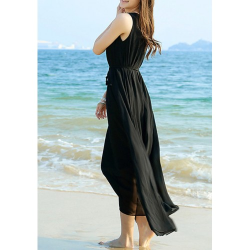 Raabta Black Long Dress with Drosting