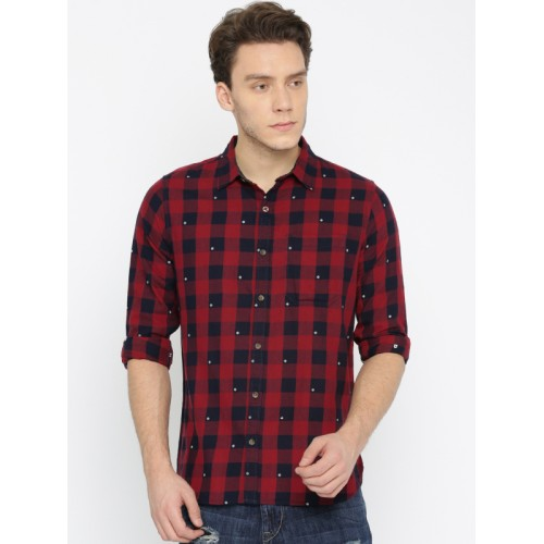 WROGN Red & Navy Blue Smart Fit Checked Casual Shirt