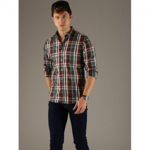 Flying Machine Men Green Slim Fit Checked Casual Shirt