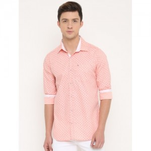 Cross Court Men Pink Slim Fit Printed Casual Shirt