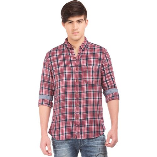 Flying Machine Checkered Casual Red Shirt