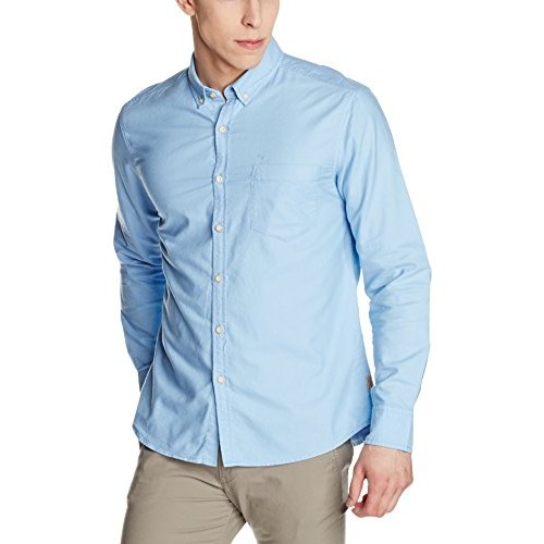 Flying Machine Sky Blue Solid Men's Casual Shirt