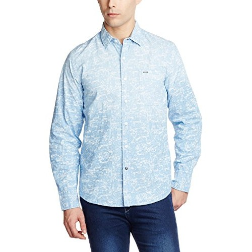 Lee Light Blue Printed Men's Casual Shirt