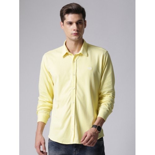 YWC Men Yellow Classic Slim Fit Solid Casual Shirt