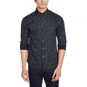 Flying Machine Black Printed Men's Casual Shirt