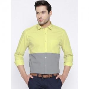 John Players Yellow & Grey Colourblocked Trim Casual Shirt