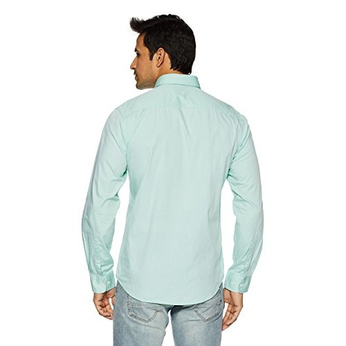 Peter England Green Cotton Solid Men's Casual Shirt