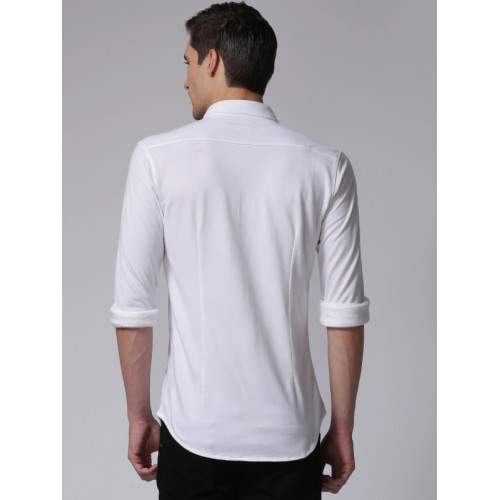 YWC Men White Slim Fit Solid Knitted Casual Shirt