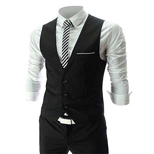 Cenizas Black Cotton Casual tuxedo waistcoat