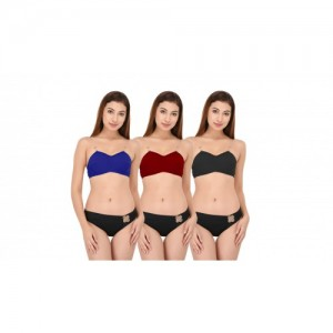 73935b99a5 DeVry Cotton Non-Padded Wirefree Transperent straps Bra Multicolors ( Pack  OF 3 PC Set