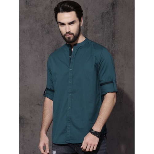 70686a96442 Buy Roadster Men Teal Green Regular Fit Solid Casual Shirt online ...