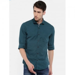 Peter England Casuals Men Teal Blue Solid Casual Shirt