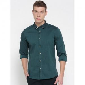 Blackberrys Men Teal Green Slim Fit Solid Casual Shirt