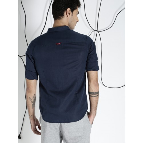 Ecko Unltd Men Navy Blue Slim Fit Solid Casual Shirt