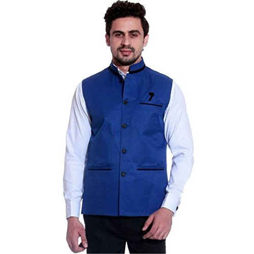 SSB Cotton Blend Solid Blue Nehru Jacket