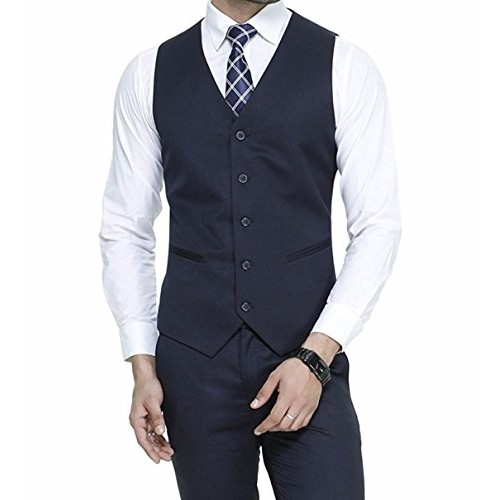 Oshano Blue Poly Cotton Solid Slim Fit Waistcoat