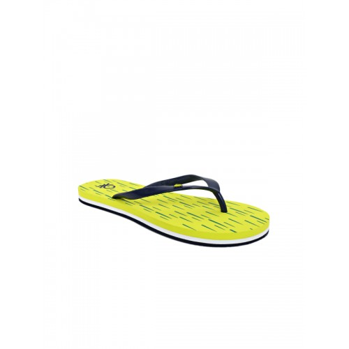 United Colors of Benetton Navy & Lime Green Printed Thong Flip-Flops
