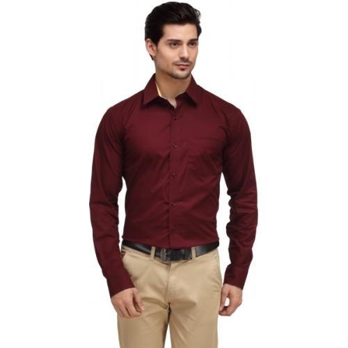 f36b6ba48b2 Buy Hancock Men's Solid Formal Maroon Shirt online