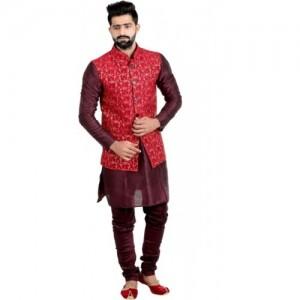 Jihuzur Red Sleeveless Floral Print Jacket