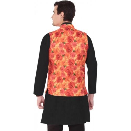Vandnam Fabrics Sleeveless Floral Print Men Jacket