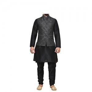 Mag Men's Black Matching silk Kurta Churidhar With Waistcoat