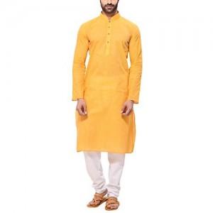 RG Designers Men's Handloom Yellow Kurta Pyjama