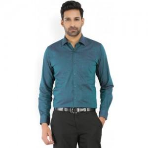 Peter England Teal Green Men's Formal Shirt