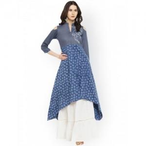 Shakumbhari Blue Printed Cold Shoulder C Cut Kurta