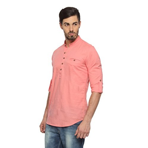 980bd613a04 Buy Rockstar Peach Linen Short Length Kurta online