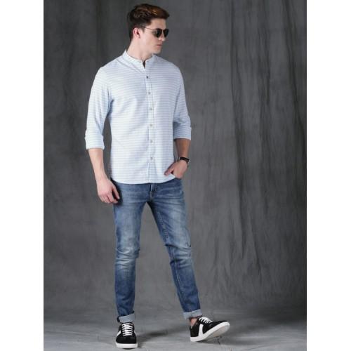 WROGN Men White & Blue Slim Fit Striped Casual Shirt