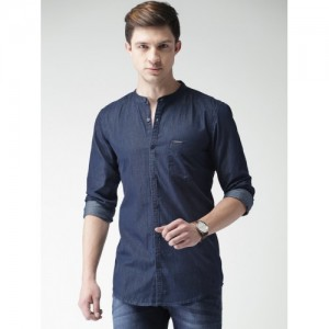 Mast & Harbour Men Blue Slim Fit Solid Casual Shirt
