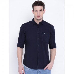 Pepe Jeans Men Navy Solid Casual Shirt