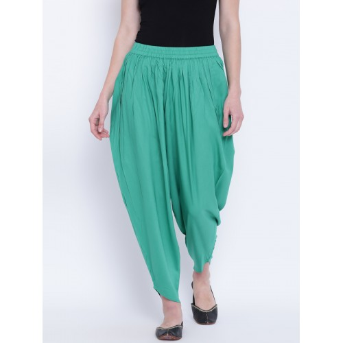 AURELIA Green Viscose Solid Salwar