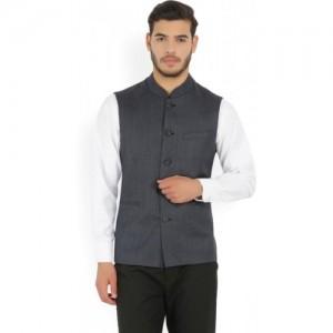 Van Heusen Blue Self Design Men's Nehru Jacket