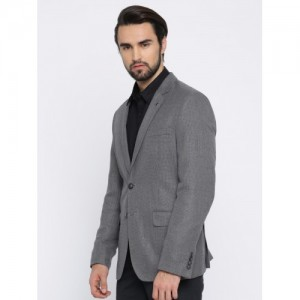 Van Heusen Men Grey Single-Breasted Self Design Slim Fit Formal Blazer